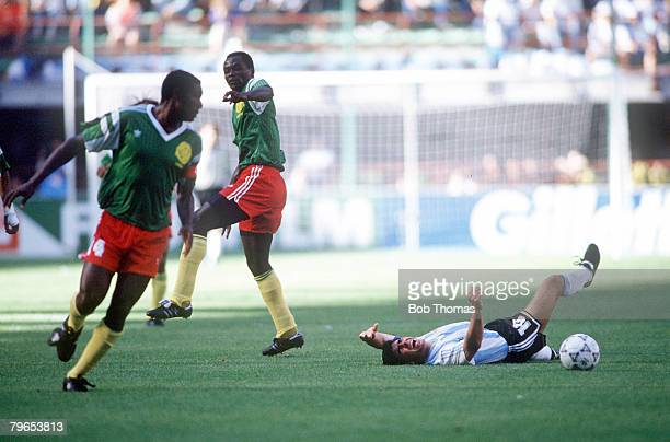World Cup Finals Milan Italy 8th June Argentina 0 v Cameroon 1 Argentina's Diego Maradona lies on the ground after being fouled