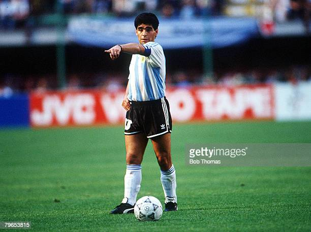 World Cup Finals Milan Italy 8th June Argentina 0 v Cameroon 1 Argentina's Diego Maradona on the ball
