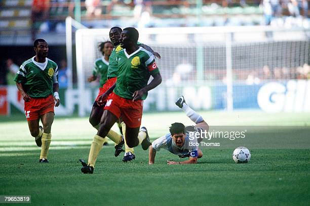 World Cup Finals Milan Italy 8th June Argentina 0 v Cameroon 1 Argentina's Diego Maradona falls to the ground after being fouled