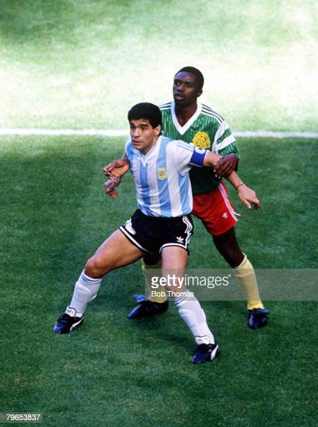 World Cup Finals Milan Italy 8th June Argentina 0 v Cameroon 1 Argentina's Diego Maradona is closely marked by a Cameroon defender