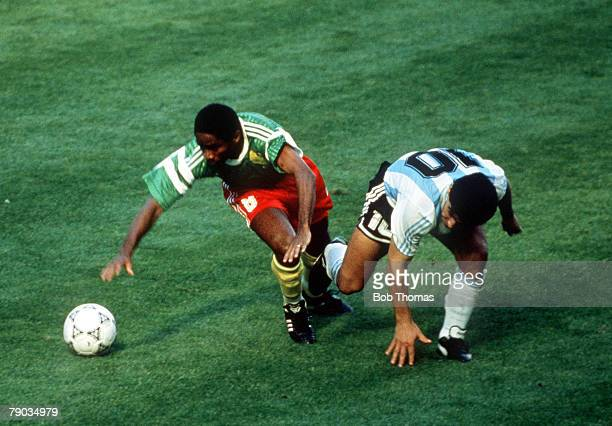 World Cup Finals Milan Italy 8th June Argentina 0 v Cameroon 1 Cameroon's Mbouh Mbouh battles for the ball with Argentina's Diego Maradona