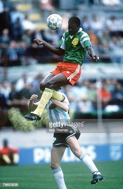 World Cup Finals Milan Italy 8th June Argentina 0 v Cameroon 1 Cameroon's Oman Biyick leaps high to head the ball for the only goal of the game
