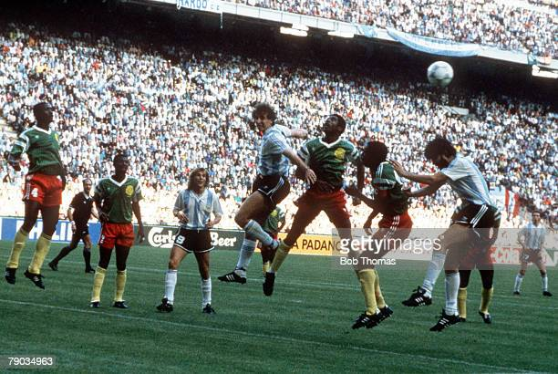 World Cup Finals Milan Italy 8th June Argentina 0 v Cameroon 1 Cameroon defenders clear the ball away from their goal during an Argentine attack