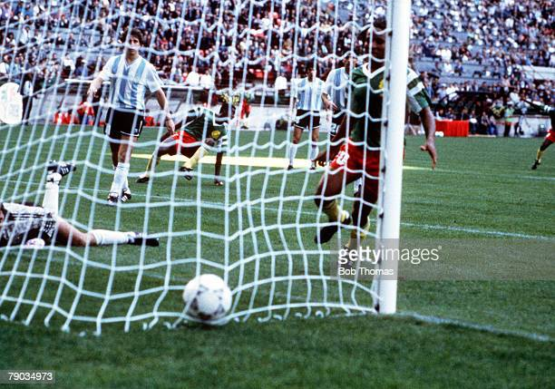 World Cup Finals Milan Italy 8th June Argentina 0 v Cameroon 1 The ball settles in the back of the Argentine net after Cameroon's Omam Biyck had...
