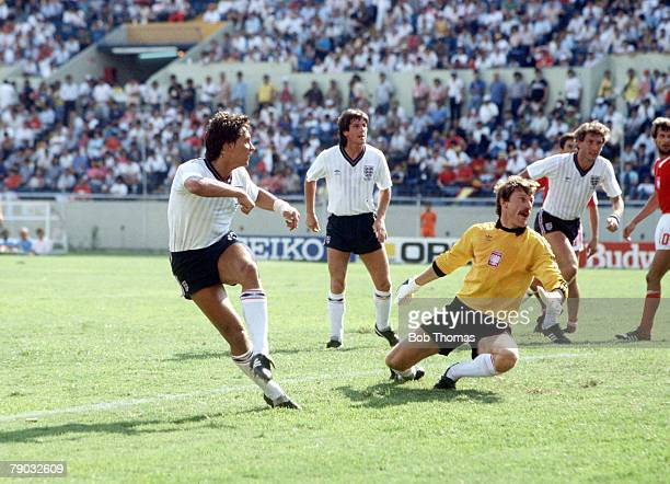 World Cup Finals Monterrey Mexico 11th June England 3 v Poland 0 England's Gary Lineker shoots past Polish goalkeeper Jozef Mlynarczyk scoring his...