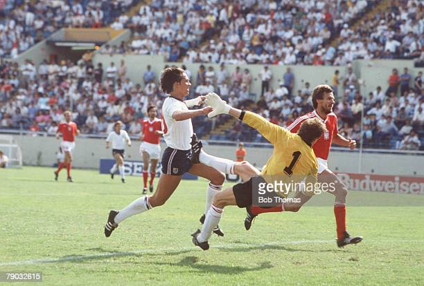 World Cup Finals Monterrey Mexico 11th June England 3 v Poland 0 England's Gary Lineker beats Polish goalkeeper Jozef Mlynarczyk to score the second...