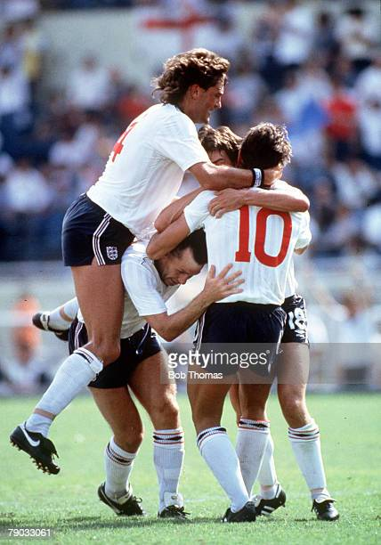 World Cup Finals Monterrey Mexico 11th June England 3 v Poland 0 England's hattrick hero Gary Lineker is mobbed by teammates after scoring one of his...