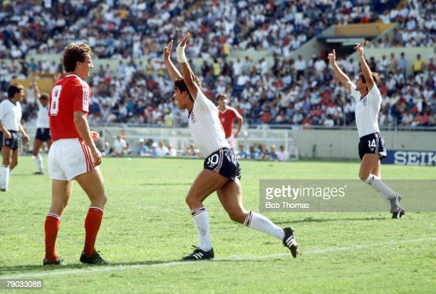 World Cup Finals Monterrey Mexico 11th June England 3 v Poland 0 England's Gary Lineker raises his arms to celebrate after scoring his third goal to...