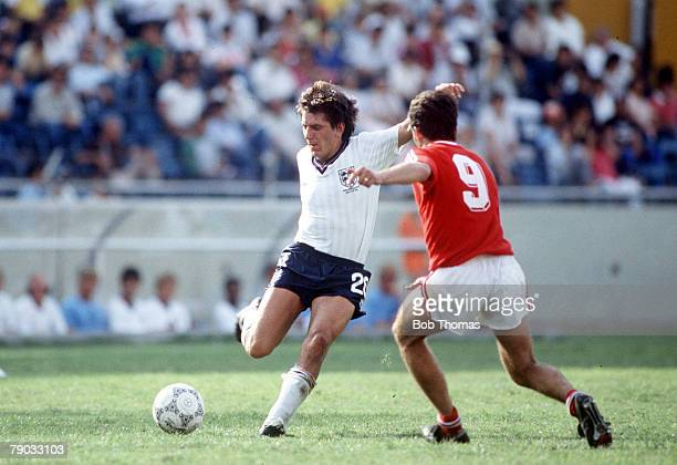 World Cup Finals Monterrey Mexico 11th June England 3 v Poland 0 England's Peter Beardsley on the ball