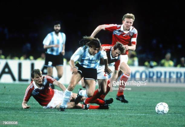 World Cup Finals Naples Italy 13th June Argentina 2 v USSR 0 Argentina's Claudio Caniggia races for the ball with three USSR defenders