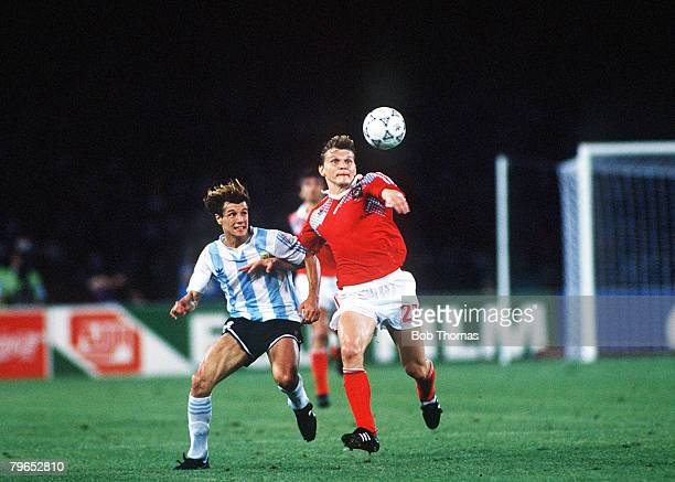 World Cup Finals Naples Italy 13th June Argentina 2 v USSR 0 Argentina's Claudio Cannigia battles for the ball with USSR's Sergei Gorlikovich