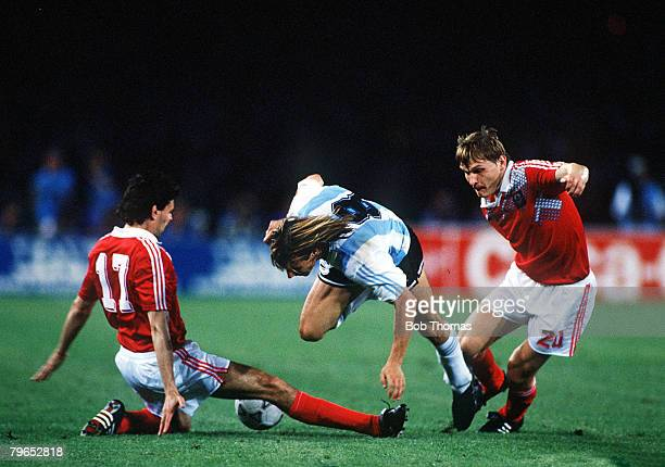 World Cup Finals Naples Italy 13th June Argentina 2 v USSR 0 Argentina's Claudio Caniggia tries to take the ball between two USSR defenders