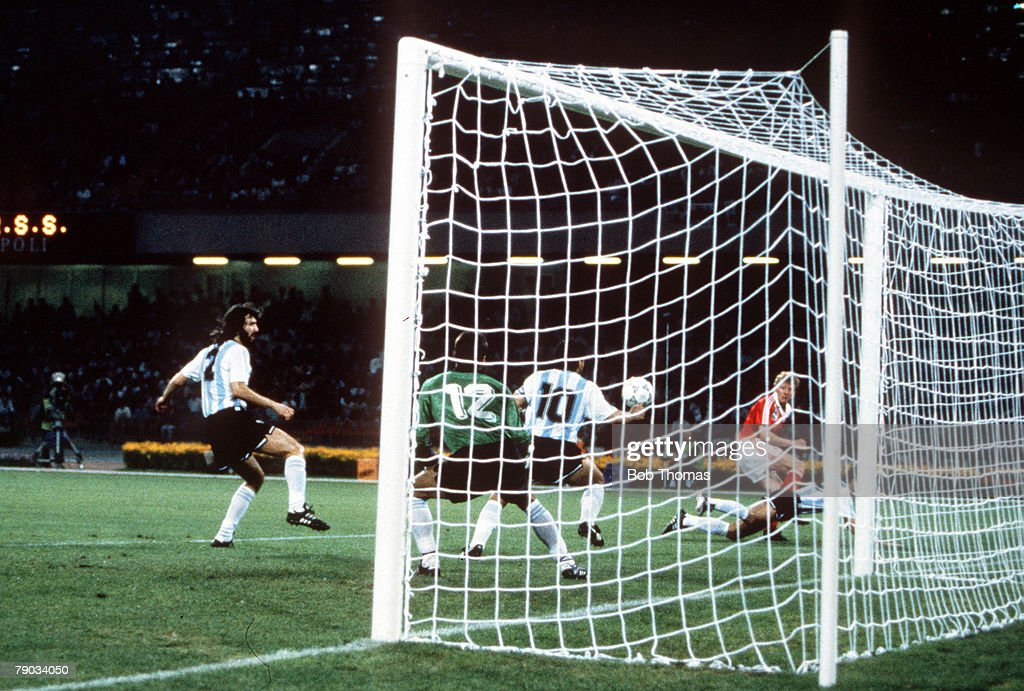 1990 World Cup Finals. Naples, Italy. 13th June, 1990. Argentina 2 v USSR 0. Argentina's Diego Maradona handles the ball inside his own penalty area, not seen by the referee. : News Photo