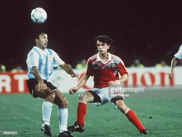 World Cup Finals Naples Italy 13th June Argentina 2 v USSR 0 Argentina's Julio Olarticoechea battles for the ball with USSR's Igor Shalimov