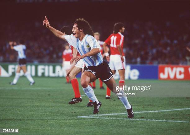 World Cup Finals Naples Italy 13th June Argentina 2 v USSR 0 Argentina's Pedro Troglio celebrates after scoring the first goal