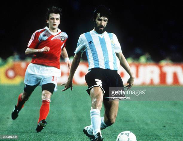 World Cup Finals Naples Italy 13th June Argentina 2 v USSR 0 Argentina's Sergio Batista plays the ball