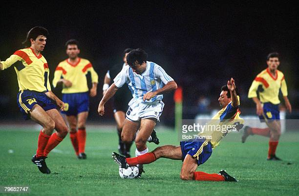 World Cup Finals Naples Italy 18th June Argentina 1 v Romania 1 Argentina's Julio Olarticoechea is challenged for the ball by Romania's Mircea Rednic
