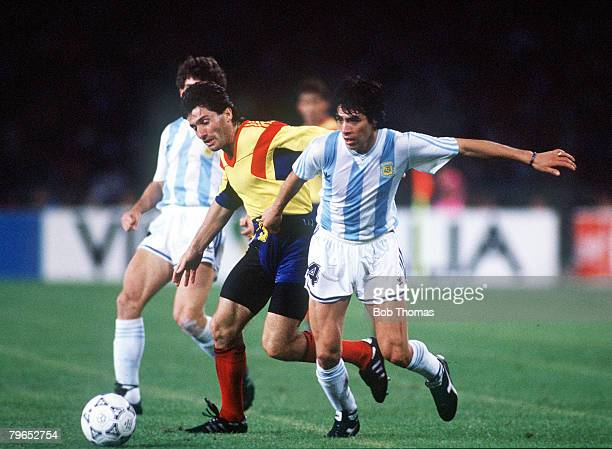 World Cup Finals Naples Italy 18th June Argentina 1 v Romania 1 Argentina's Jose Basualdo battles for the ball with Romania's Iosif Rotariu