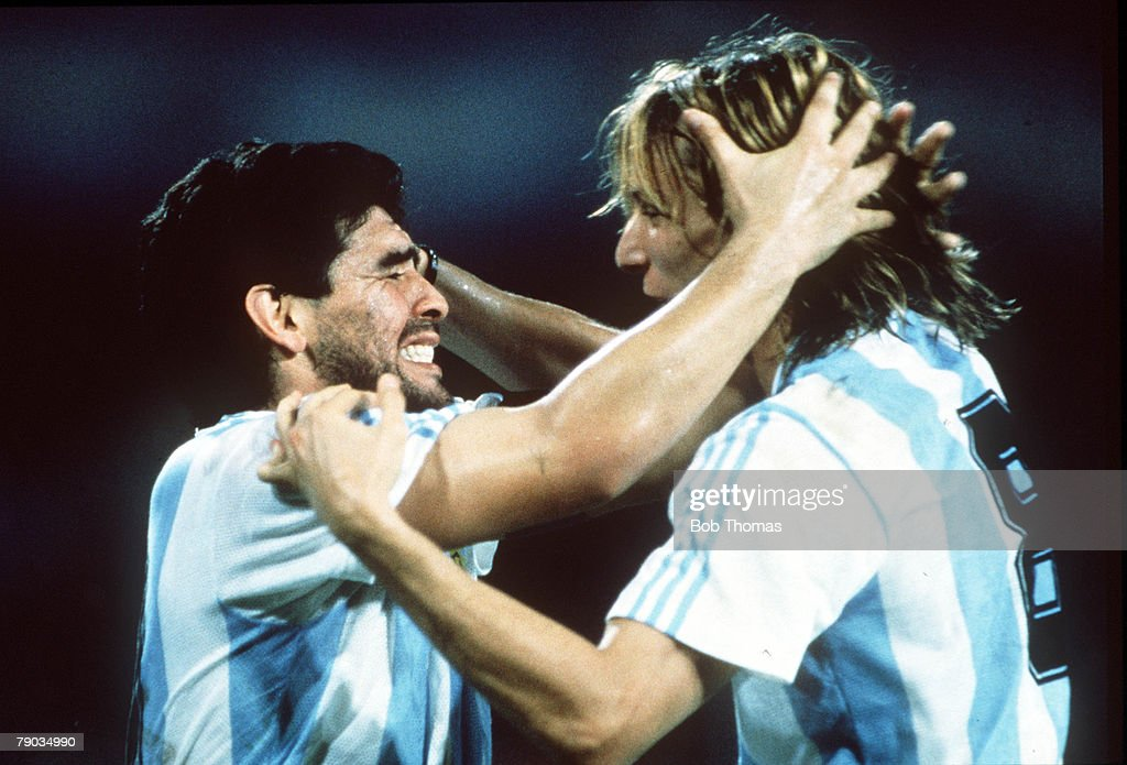 1990 World Cup Finals. Naples, Italy. 18th June, 1990. Argentina 1 v Romania 1. Argentina's Claudio Caniggia celebrates with an emotional Diego Maradona. : News Photo