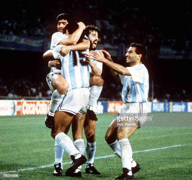 World Cup Finals Naples Italy 18th June Argentina 1 v Romania 1 Argentine players celebrate after Pedro Monzon had scored their side's goal