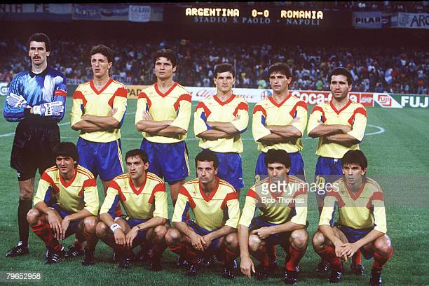World Cup Finals Naples Italy 18th June Argentina 1 v Romania 1 Romania pose for a team group picture before the match
