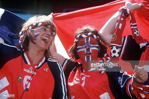World Cup Finals New Jersey USA 23rd June Italy 1 v Norway 0 Norwegian fans wearing face paint cheer their team on during the match
