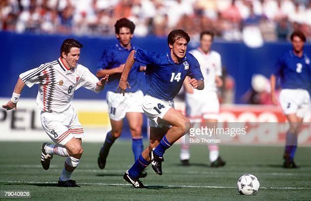World Cup Finals New Jersey USA 23rd June Italy 1 v Norway 0 Italy's Nicola Berti battles for the ball with Norway's Leonhardsen
