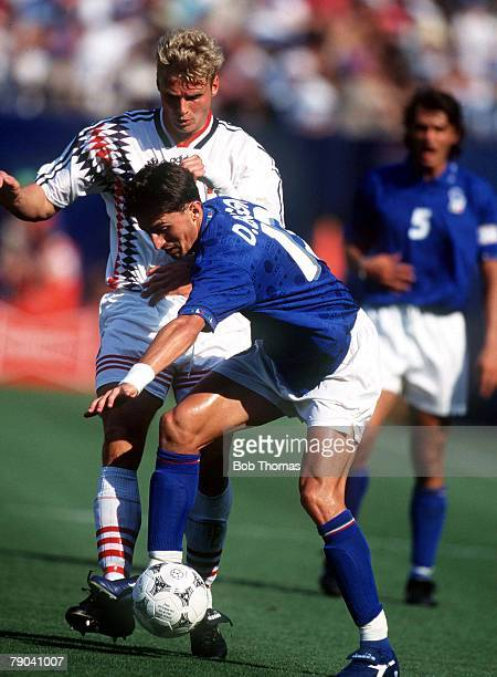 World Cup Finals New Jersey USA 23rd June Italy 1 v Norway 0 Italy's Dino Baggio holds off Norway's Jostein Flo