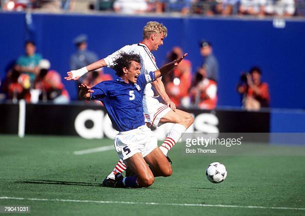World Cup Finals New Jersey USA 23rd June Italy 1 v Norway 0 Italy's Paolo Maldini battles for the ball with Norway's Jostein Flo