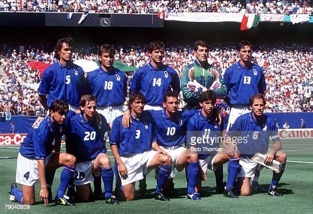 World Cup Finals New Jersey USA 23rd June Italy 1 v Norway 0 The Italian team line up before the match