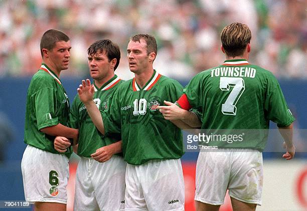 World Cup Finals, New York, USA, 18th June 1994, Ireland 1 v Italy 0, L-R; Ireland's Roy Keane, Ray Houghton, John Sheridan & Andy Townsend form a...