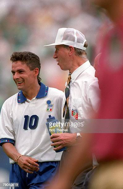 World Cup Finals New York USA 18th June 1994 Ireland 1 v Italy 0 Ireland's coach Jack Charlton with Italy's Roberto Baggio