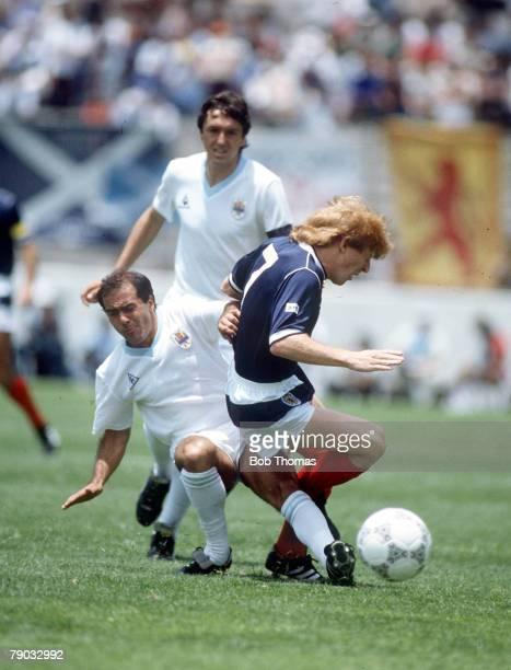 World Cup Finals Neza Mexico 13th June Scotland 0 v Uruguay 0 Uruguay's Jose Batista fouls Scotland's Gordon Strachan leading up to Batista being...