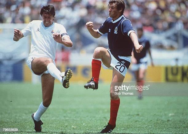 World Cup Finals Neza Mexico 13th June Uruguay 0 v Scotland 0 Uruguay's Jorge Barrios battles for the ball with Scotland's Charlie Nicholas