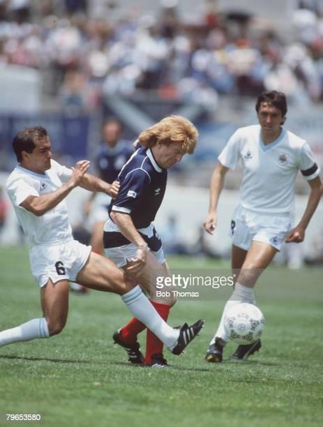 World Cup Finals Neza Mexico 13th June Uruguay 0 v Scotland 0 Uruguay's Jose Batista fouls Scotland's Gordon Strachan leading to Batista's sending off