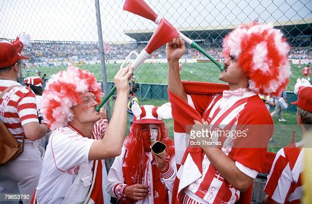 World Cup Finals Neza Mexico 4th June 1986 Denmark 1 v Scotland 0 Demark's fans blow musical instruments during the match to encourage their team