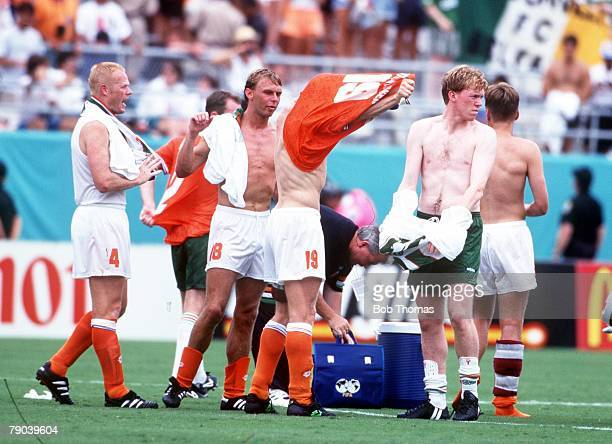 World Cup Finals Orlando USA 4th July Holland 2 v Republic of Ireland 0 Dutch players swap shirts with Irish players after the match