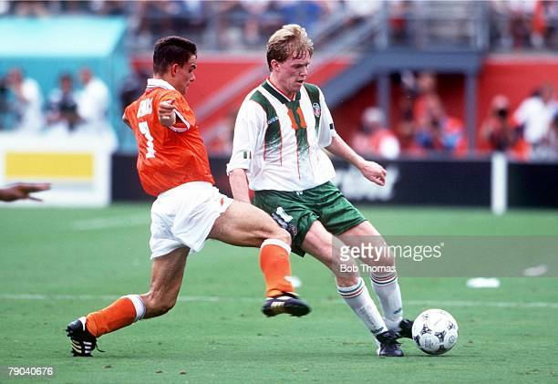 World Cup Finals Orlando USA 4th July Holland 2 v Republic of Ireland 0 Ireland's Steve Staunton gets away from Holland's Marc Overmars