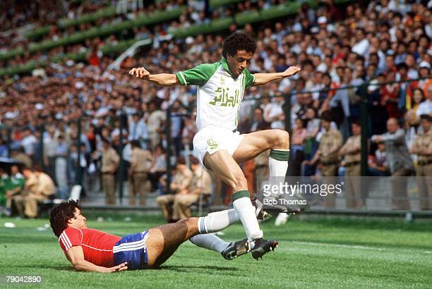 World Cup Finals Oviedo Spain 24th June Algeria 3 v Chile 2 Algeria's Tedj Bensaoula is tackled by Chile's Rene Valenzuela