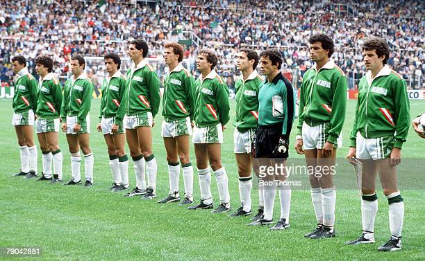 World Cup Finals Oviedo Spain 24th June Algeria 3 v Chile 2 The Algeria team line up before the match