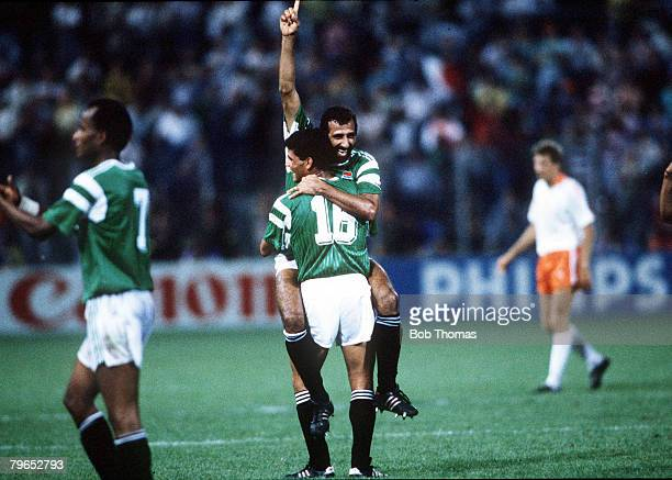World Cup Finals Palermo Italy 12th June Holland 1 v Egypt 1 Egypt's Abdel Ghany celebrates at the end of the match