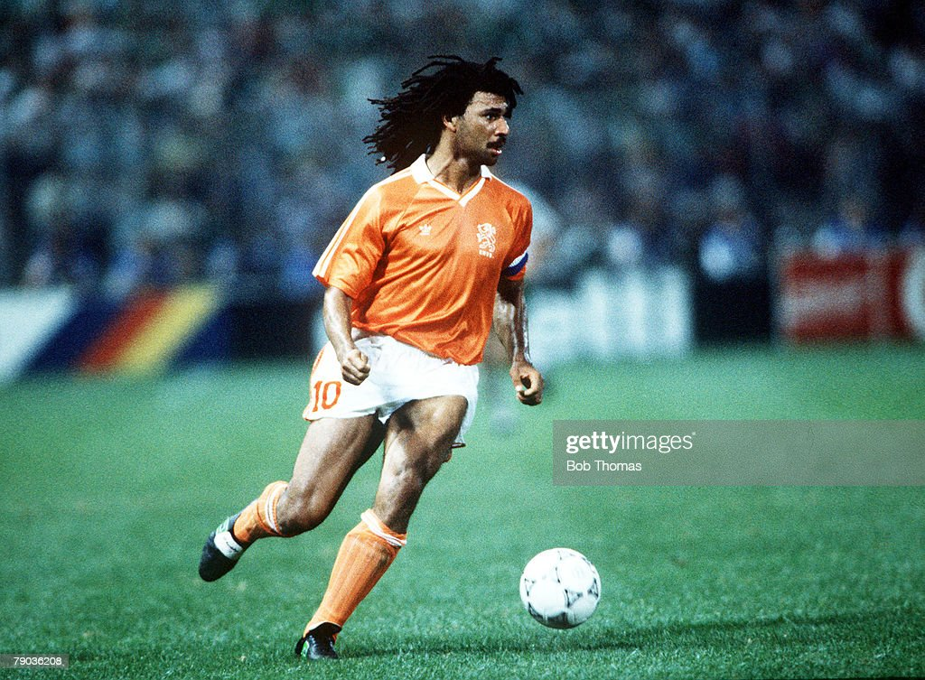 1990 World Cup Finals. Palermo, Italy. 21st June, 1990. Holland 1 v Republic Of Ireland 1. Holland's Ruud Gullit on the ball. : News Photo