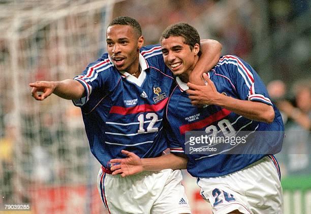 World Cup Finals Paris France 18th JUNE 1998 France 4 v Saudi Arabia 0 France's David Trezeguet who has just scored France's 3rd goal celebrates with...