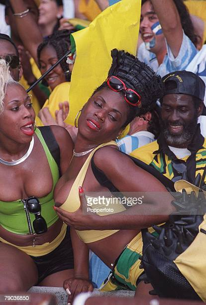 World Cup Finals Paris France 21st June Argentina 5 v Jamaica 0 A sexy colourful Jamaican fan