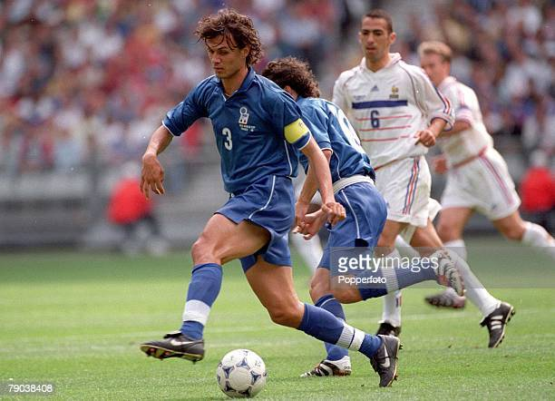 World Cup Finals Paris France QuarterFinal 3rd July France 0 v Italy 0 Italy's Paolo Maldini moves forward with the ball