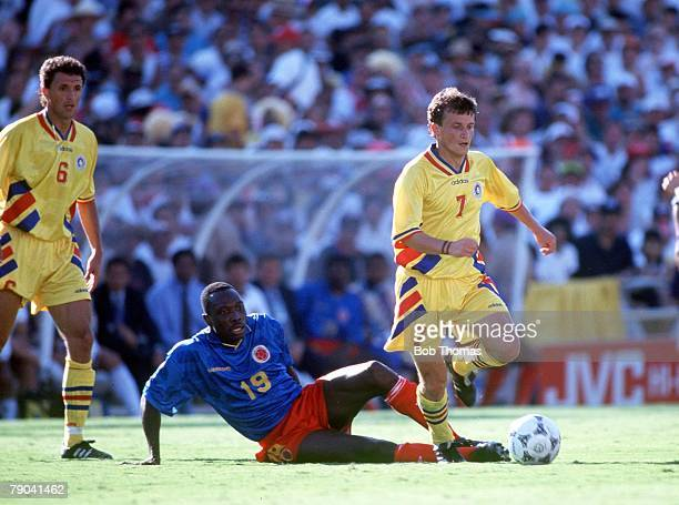 World Cup Finals Pasadena USA 18th June Romania 3 v Colombia 1 Romania's Dorinel Munteanu with Colombia's Freddy Rincon