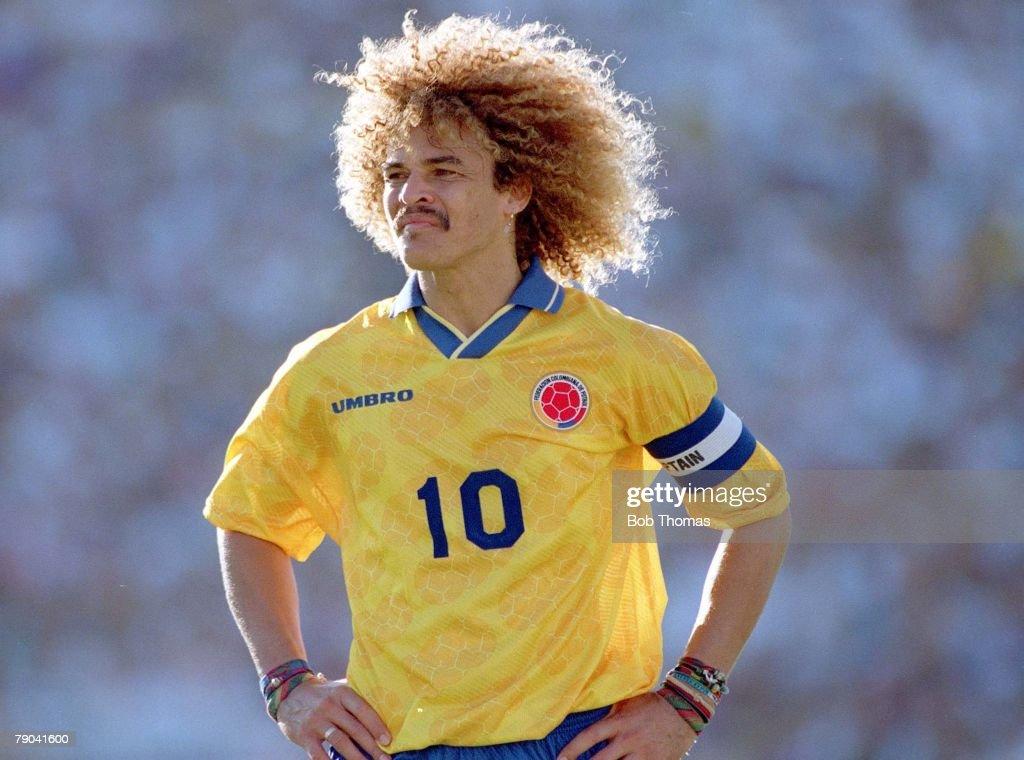 1994 World Cup Finals. Pasadena USA. 22nd June, 1994. USA 2 v Colombia 1. Colombia's captain Carlos Valderrama. : News Photo