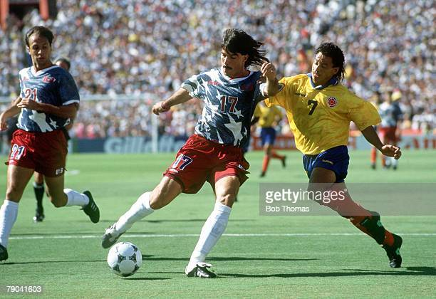 World Cup Finals Pasadena USA 22nd June USA 2 v Colombia 1 USA's Marcel Balboa clears the ball from Colombia's De Avila