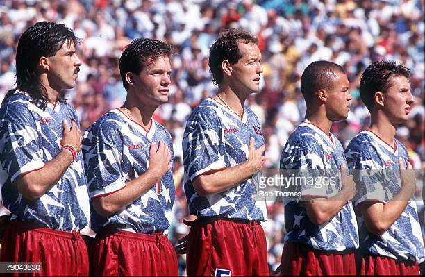 World Cup Finals Pasadena USA 22nd June USA 2 v Colombia 1Eric Wynalda Thomas Dooley Ernie Stewart and Sorber line up as they listen to their...