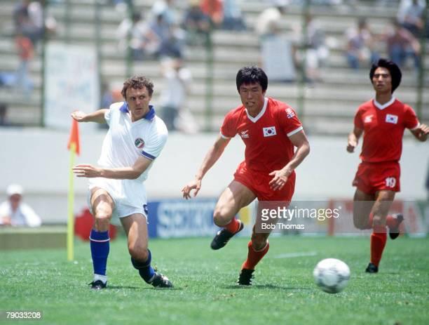 World Cup Finals Puebla Mexico 10th June Italy 3 v South Korea 2 Italy's Pietro Vierchowod beats Bum Kun Cha
